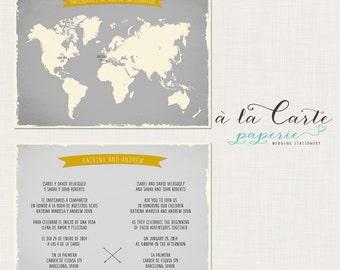 Bilingual Wedding Invitation World Map invite Two Countries One Love One Big Celebration  grey yellow Destination wedding DEPOSIT Payment