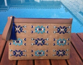 Embroidery Blue Purse
