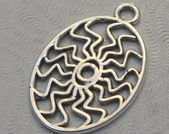 LuxeOrnaments Antique Oval Sterling Silver Plated Brass Filigree European Cast Pendant (1 pc) 27x18mm B-14945-S