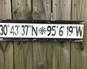 Personalized Latitude Longitude Sign/coordinates sign/Custom Longitude Latitude Wood Sign/Wood Coordinates Sign/GPS Coordinates Sign