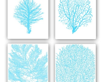 Sea Coral fan prints, 8x10 prints, set of 4, in green turquoise, modern vintage inspired  by coral, kelp, gorgonian
