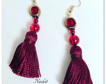 Red Glass Bead Tassel Earrings