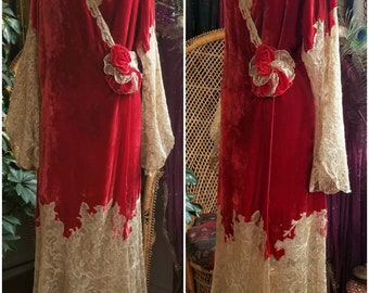 Rare 1920s Silk Velvet and Tambour Lace Dressing Gown Robe Peignoir Vintage 20s