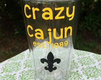 Crazy Cajun Tumbler, Crazy Cajun Cup, Louisiana Cup, Louisiana Tumbler, Down South Tumbler, Personalized Tumbler