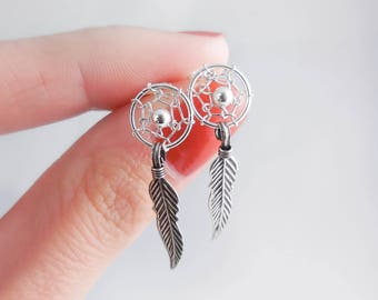 925 Sterling Silver Dream Catcher Stud Earrings, Dream Catcher Studs, Dream Catcher Earrings, Dream Catcher Jewelry, Boho Stud, Boho Jewelry
