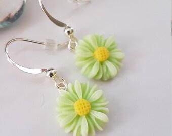Light Green Earrings, Green Flower Earrings, Apple Green Earrings, Daisy, Daisies, Mums, Light Green Dangle Earrings