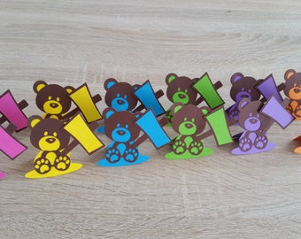 Set of 12 place - cards Teddy bear with his sign to be personalized - purple color