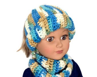 18 Inch Doll Bun Beanie, Messy Bun Hat with Infinity Scarf, Ponytail Beanie and Scarf, Crocheted Doll Hat, Scarf, Winter Doll Clothes