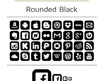 Black Wedding Social Media Icons