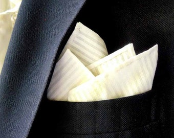 White On White Pinstripe Cotton Pocket Square With Hand-Rolled Hem
