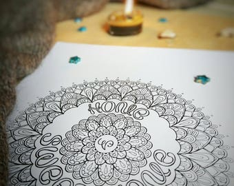 "Coloring Lettering Mandala ""Home Sweet Home"""