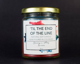 Til the End of the Line // 8OZ Soy Candle - Steve Rogers - Bucky Barnes - Captain America - Bookish Candles - Handmade - Gift