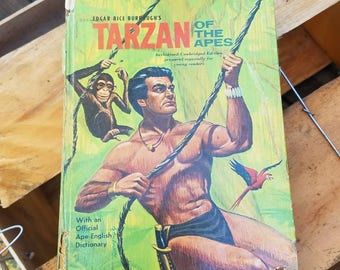 1964 Tarzan of the Apes- 1960's Vintage Books/Children's Books/Classic/Hardcover/Illustrated- Edgar Rice Burroughs- Adventure Books- Whitman