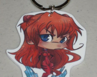 Asuka in Plugsuit - Neon Genesis Evangelion Keychain, Cell Phone Charm, Sterling Silver Earrings, Clip on Earrings or Necklace
