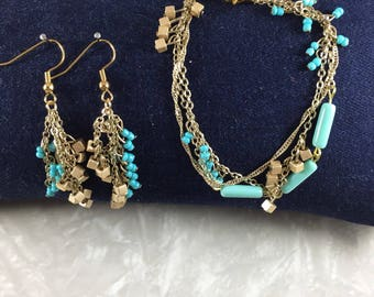 Cubic Fringe Bracelet and Earring Set