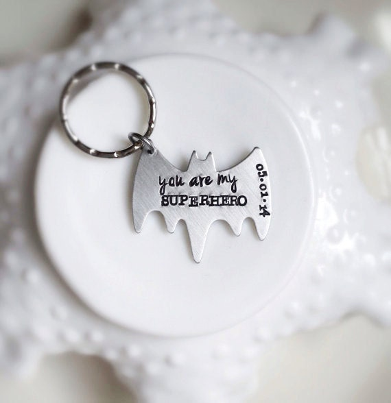 Superhero Keychain Valentines Gift Personalized Bat You Are My