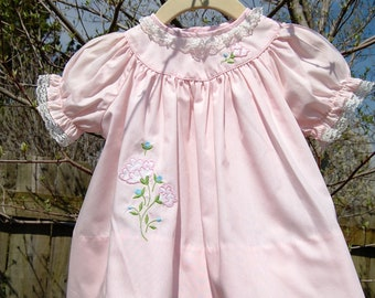 Vintage Baby Clothes, Baby Girls Dress, 60s Pink Cotton Dress, Floral Appliques, Size 6 to 9 mo, Baby Girl, Gift for Baby, Easter, Nannette
