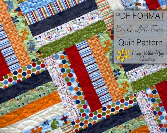 Big Amp Little Fence Baby Quilt Pattern Strip Quilt Pattern