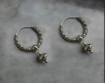 charm hoop earrings silver sterling small star pendant granulated oxidized Bali beads chunky earrings boho Hoop filigree bead extra edgy