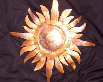 Solar Flare Sun Copper Sculpture Metal Wall Art 30 Inches 24 Rays