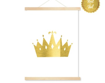 Princess Crown Poster / Queen's crown / Print for little girls room / Gold nursery print / Gold Foil crown Art / Baby girl nursery