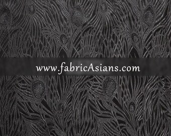 "Black Feather Brocade. Black Chinese Silk. Oriental Fabric. 29"" wide. SB100009"