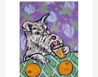 25% off Schnauzer Drinking Orange Juice Art Print