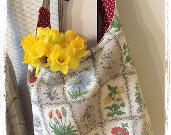 Vintage barkcloth fabric slouchy shoulder bag - grey botanical floral