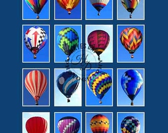Poster of Hot Air Balloon pictures.  A collage of hot air balloons taken during balloon festivals in the USA.