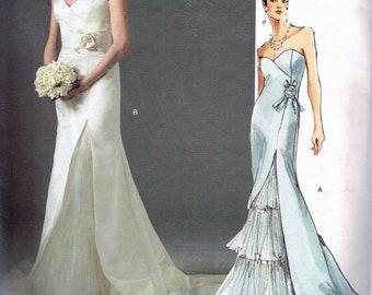 Size 18-22 Misses' Plus Size Wedding Dress Pattern - Strapless Bustier Long Dress - Split Front Wedding Gown - Vogue Bridal Original V2860