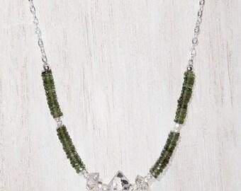 Genuine Herkimer Diamond and Moldavite Sterling Silver Necklace