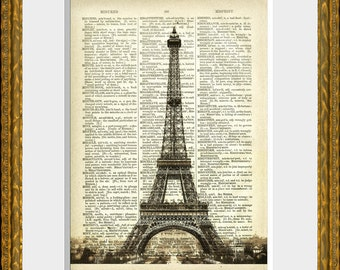 EIFFEL TOWER in PARIS - Book Page Art Print - an upcycled antique dictionary page with a vintage Paris illustration - home decor