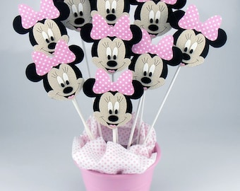 Felt Minnie Mouse Centerpieces On a Stick (6pcs)