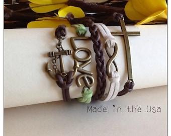 Sideways Cross, Layered bracelet, Infinity bracelet,  Love bracelet, Anchor Bracelet, Friendship bracelet, Faith bracelet, Christian Gift