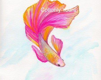 Watercolor Print - Pink Betta / Siamese Fish