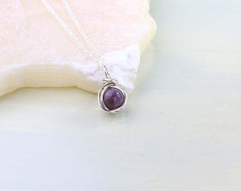July Birthstone Necklace, Raw Ruby Gemstone Pendant, Sterling Silver, Choice of Chain Style, Stone of Love