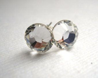 Swarovski Crystal Stud Earrings, Crystal Earrings, Post Earrings, Silver Plated, White, Clear, Transparent, Bridesmaid Gifts