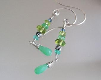 Chrysoprase Earrings, Multi Green Gemstone Sterling Silver Earrings with Peridot, Tsavorite, Earthy and Vibrant, Green Gem Dangles
