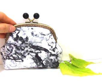 Black marble Cosmetic Bag,Coin Purse Metal Frame Purse Kiss Lock Purse Money Purse Mini Clutch Gift for Her Accessory pouch Cute purse K-M-4