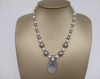 Soft Grey Gray Agate and Pearl Silver Necklace