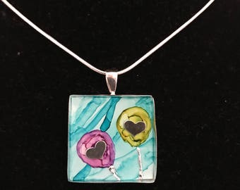 Sterling Silver, Heart Necklace - Hand Painted, Handmade - Perfect Valentine Gift!
