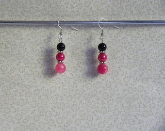 Hot Pink and Black Dangle Earrings