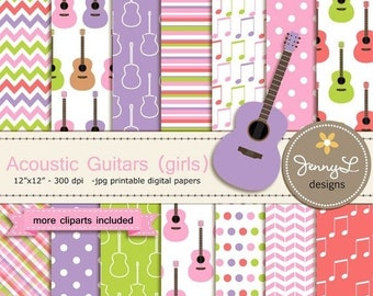 50% OFF Acoustic Guitar Girl Digital Paper and Clipart, Music, Musical Notes for Birthday, wedding, School, Scrapbooking Paper Party Theme