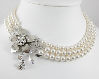Bridal Necklace Floral Necklace Spring Wedding Jewelry Statement Wedding Necklace  GAEA 2
