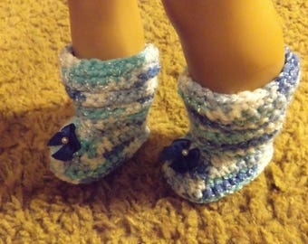 """18"""" Doll Boots, 18"""" Doll Shoes, American Girl Boots, American Girl Shoes, Crocheted Doll Boots, Crocheted Doll Shoes, Blue Boots, Blue Shoes"""