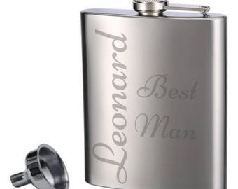 Etched Flasks | Groomsman Gift | Stainless Steel | Bachelor Party | Wedding |  | Bestman |  Personalized Gift | Liquor Flask | Groom