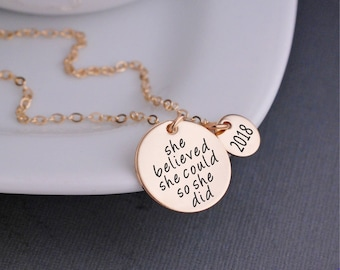 She Believed She Could So She Did Necklace, Custom Graduation Gift, Inspirational Jewelry for Graduate