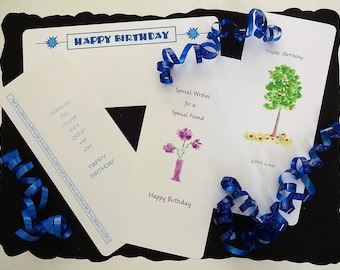 Birthday Card Medley Set of 4; BDM-2; greeting cards, flat card,handmade original creations, stationery,all occasion cards