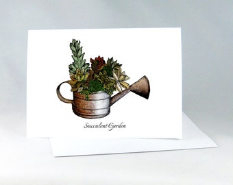 Cacti Art Card, Succulent Card, Succulent Garden, Flower Note Card Color, Succulent Greeting Card, Succulent Art Card, Blank Note Card 1037A