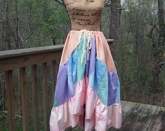Asymmetrical Gypsy Belly Dance Skirt, Ethnic Tribal Hippie Skirt, Bohemian Patchwork Festival Skirt, Handmade Eco Clothing, Tie Dye HighLow
